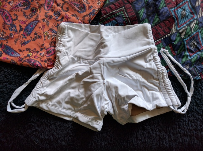 liquido white side tie shorts