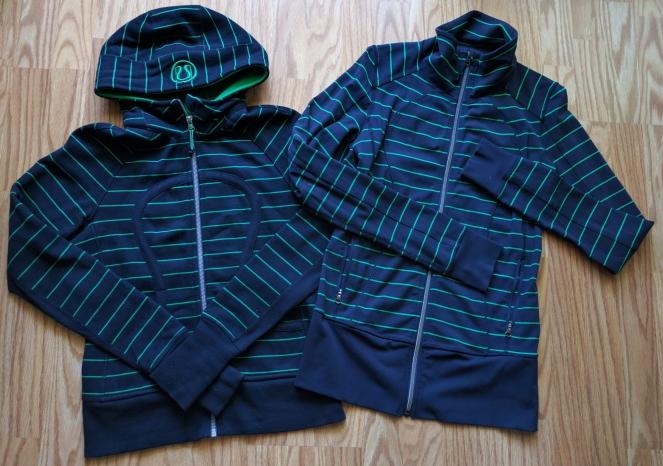 lululemon green bean inkwell nice asana scuba hoodie