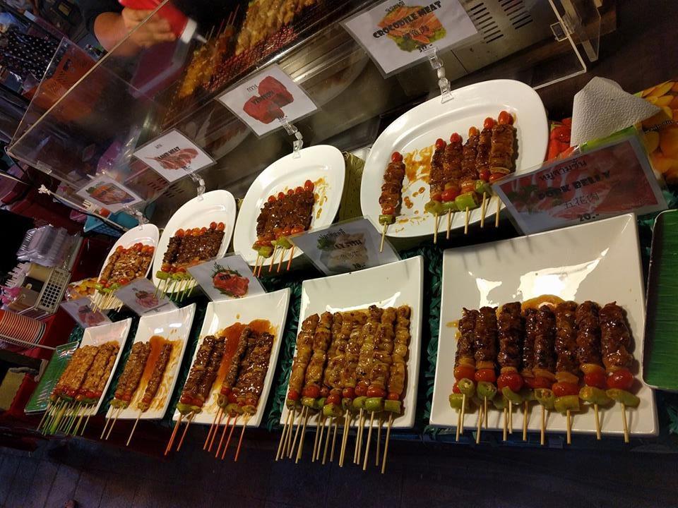 Street food kabobs in Bangkok, Thailand